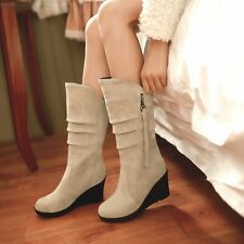 Size 5-15 Womens Suede Pull On Round Toe Med Wedge Heels Platform Mid-calf Boots