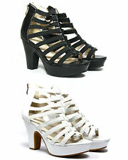Womens Block Platform High Heels Gladiator Holiday Work Strappy Sandals Zip Size