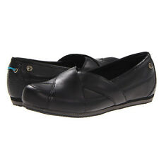 Mozo SPORT Womens Black Leather Slip On Water Slip Resistant Comfort Flat Shoes