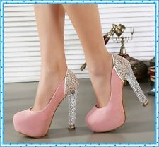 Girls Pumps Pink Shoes High Heels Crystal Pumps Party Wedding Shoes