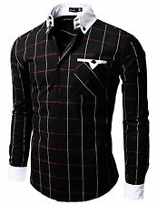 W005-BLACK-2 Doublju Mens Casual Slim Fit Plaid Shirts- Choose SZ/Color.