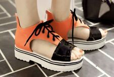 Women Middle Heels Causal Lace up White Pink Orange sandal (Big size 34-43)