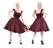Ladies H&R Red Brocade Floral Jacquard Gothic Vintage 50s Evening Party Dress
