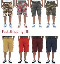 Ablanche Men's Washed Twill Belted Cargo Shorts