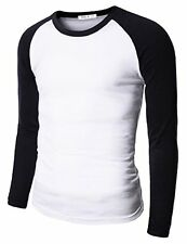 126LD-NAVY- Doublju Mens Raglan Crew Neck T-shirts NAVY (US-L)