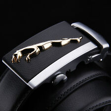 New Fashion Mens Leather Belt Strap With Jaguar Leopard Automatic Alloy Buckle