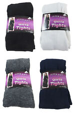 12 PAIRS CHILDRENS SUPER SOFT KIDS COTTON RICH GIRLS SCHOOL FOOTED PARTY TIGHTS