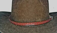 """WESTERN COWBOY HAT BAND 3/8X28""""HANDMADE BRIDLE LEATHER WITH SILVER SPOTS"""