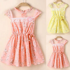 1-5Y Toddler Baby Kids Girls Lace Floral Dress Summer Princess Party Tutu Dress