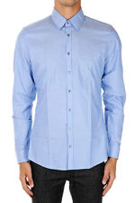 GUCCI New Men Blue Slim fit popeline Cotton shirt Made in Italy NWT