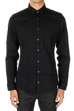 GUCCI New Men Black Popeline Cotton Slim Fit Button down Shirt Made in ITaly