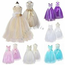 Pageant Gown Flower Girls Kids Birthday Wedding Bridesmaid Formal Party Dresses