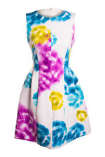 Calvin Klein Sleeveless Floral Printed Fit and Flare Scuba Dress, White/Multi