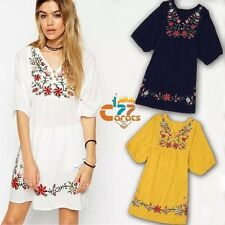 Vintage 70s Mexican DRESS Boho Hippie floral Embroidered tunic ETHNIC mini OS