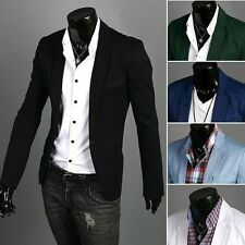Modern Suit Coat For Men Formal Casual Dress Slim Fit Blazer One Button Jacket