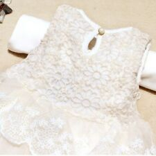 Baby Girls Sleeveless Lace Crochet Princess Party Dress Kids With Bow Belt