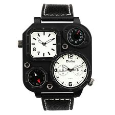 Men Oulm Dual Time Zone Quartz Wrist Watch w/ Decoration Compass and Thermometer
