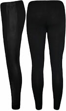 New Plus Size Womens Black Wet Look Panel Full Length Ladies Long Leggings 14-20