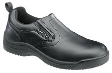 Skidbuster Womens Slip Resistant Slip On M Black Action Leather Shoes