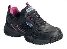 Nautilus Womens Steel Toe EH Athletic Black/Pink Leather Shoes