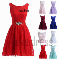 New Lace Short Prom Party Bridesmaid Dress Cocktail Evening Gown Stock Size 6-22