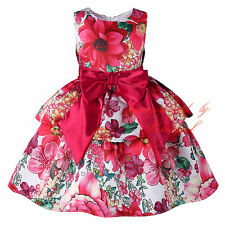 Girl Flower Bow Layered Party Dress Sleeveless Wedding Princess Pageant Dresses
