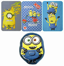 MINIONS DESPICABLE ME KIDS SOFT FLEECE BLANKET THROW & SHAPED CUSHION 3 DESIGNS