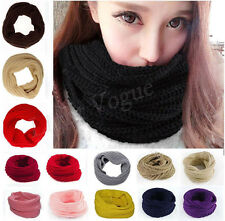 Women Girl Winter Warmer Infinity Circle Cable Knit Cowl Neck Long Scarf Shawl d