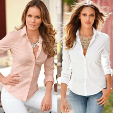 New Womens Fashion Casual Summer Shirt Slim Fit Long Sleeve Cotton Top Blouse d3