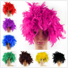 Afro Clown Short Curly Hair Wigs Feather Circus Costume Cospaly Fancy Dress Up