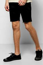 Boohoo Mens Stretch Skinny Denim Shorts With Raw Edge