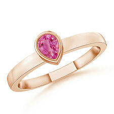 Natural Solitaire Pear Pink Sapphire Stackable Ring 14k Gold/ Platinum Size 3-13