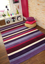 Bright Purple Aubergine Lilac Pink Modern Striped Thick Hand Tufted Wool Rugs UK