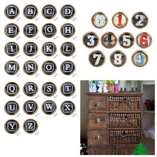 Retro Cabinet Door Drawer Dresser Handle Pull Knob DIY Letters & Numbers PICK