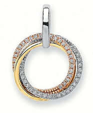 9CT WHITE YELLOW & ROSE GOLD 0.15CT DIAMOND SET INTERLINKED CIRCLES PENDANT