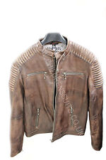 Mens Real Leather Jacket Casual Slim Fit Washed Vintage Nevada Brown Zipped NEW