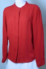 THEORY Women's Red Long Sleeved Jewel Neck Button Front Silk Blouse Sz M