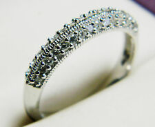 NEW Sterling Silver Ladies Pave Clear CZ Half Eternity Ring J,L,O,Q,S,U