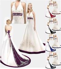 2017 Store White/Red Purple  Satin Wedding Dress Size 6 8 10 12 14 16 18 20 22