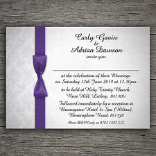 Purple White Damask Personalised Wedding Invitations Day and or/Evening