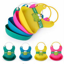 Cute Baby Soft Silicone Bib Waterproof Saliva Dripping Kid Infant Lunch Bibs NT