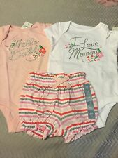 NWT Baby Gap Girl I Love Mommy Daddy Bodysuit shorts SET Layette outfit 3 6