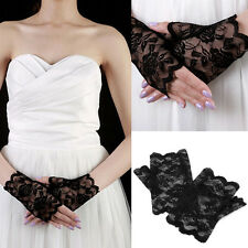 Women's Evening Bridal Wedding Party Dressy Lace Fingerless Gloves Mittens HOT