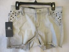 Rock & Republic Flat Solid Reg Size 8 Frayed Bleached Gray Denim Shorts SR$58NEW