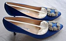 $965 NWT MANOLO BLAHNIK HANGISI 70mm ROYAL BLUE SATIN PUMPS JEWELED SHOES NIB!