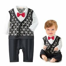 Baby Boy Wedding Christening Formal Party Tuxedo Waistcoat Suit Outfit 3-24M