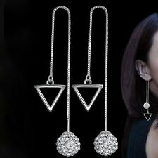 1 Pair  Ear Stud Women Rhombus Crystal Ball Long Drop Earrings Silver Plated