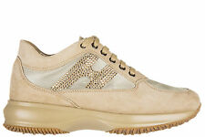 HOGAN WOMEN'S SHOES SUEDE TRAINERS SNEAKERS NEW INTERACTIVE  H STRASS BEIGE 389