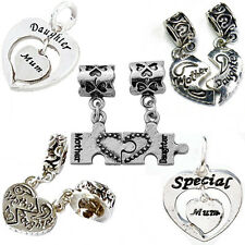 Mother Daughter Heart Pendant Charm Beads Fit European Style Charm Bracelets