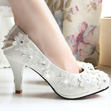 Flowers pearls pumps Wedding shoes Formal slip on bridesmaid Bridals low flat